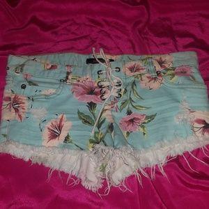 BILLABONG Womens Floral Denim Tie Front Shorts